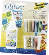 Folia - Glitterset XL: 10 Dosen Dekomaterial, 1x Kleber